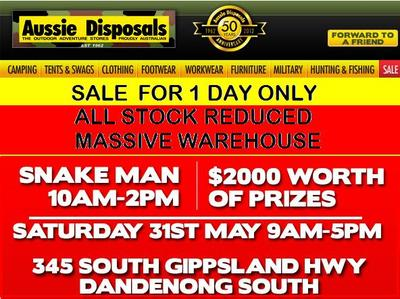 Aussie Disposals Sale advertisement