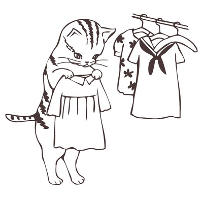 Cat looking at clothes