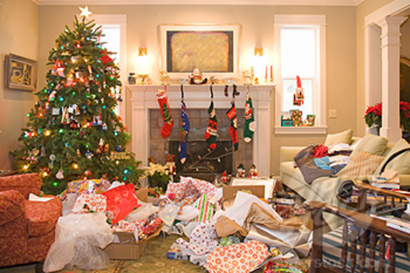 Christmas Tree with Wrapping Paper Mess  - The After Christmas Clean-up