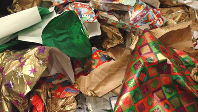 Christmas Tree with Wrapping Paper Mess