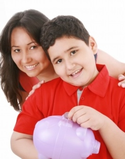 Mom and Son With Piggy Bank