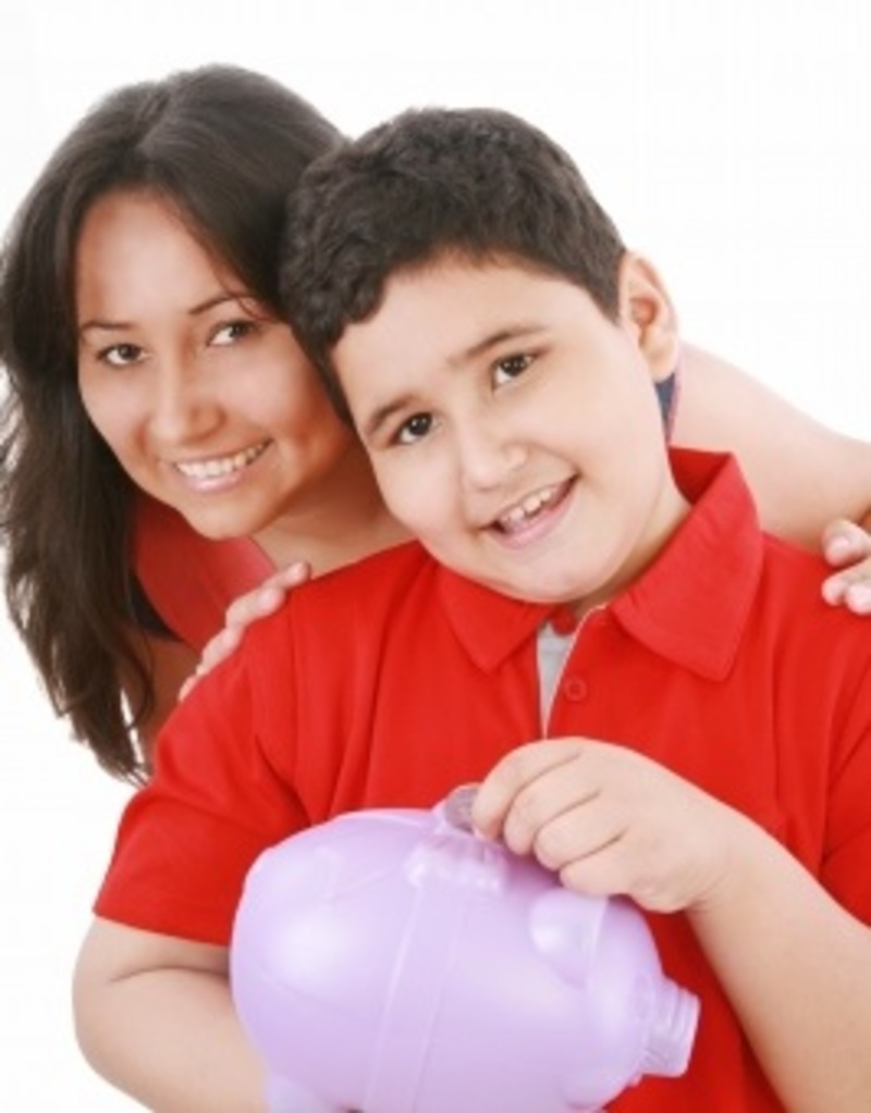 Mom and Son With Piggy Bank  - Talking Money With Kids
