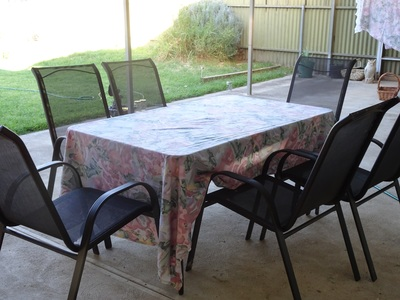 Sheet used as tablecloth