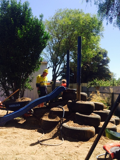 This is a slide/climbing frame we made for our son from recycled tyres we picked up from a local tyre store for free