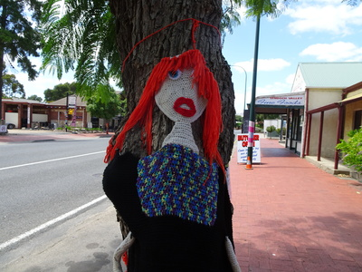 Yarn bombing girl